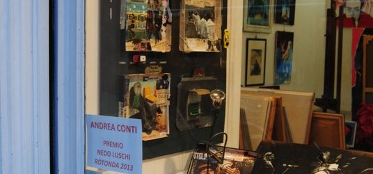 Da Rotonda 2013 alla galleria Il Melograno: i premiati Andrea Conti, Massimiliano Luschi, Diego Magliani, Adriana Ristori, Stefano Urzi