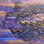 """Silfide Acrilico su tela, cm. 50x140 Volgi lo sguardo verso la ruota della vita e la vedrai dispiegarsi in spirali.  Su la testa, chiudi gli occhi e coraggio, andiamo: là, oltre la vista, oltre i confini che l'uomo ha stabilito,  oltre il confine che separa """"me"""" e """"te""""."""