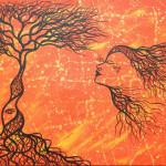 Visioni  Acrilico su tela, cm. 60x95 L'oro della vita/energia, l'affidarsi ed il fluire, rendersi degni a se stessi ... iniziare a vivere con la direzione scelta e colmi di ogni istante vissuto nel presente. La visione di ciò che è stato, e' e sarà si uniscono ed è perfezione