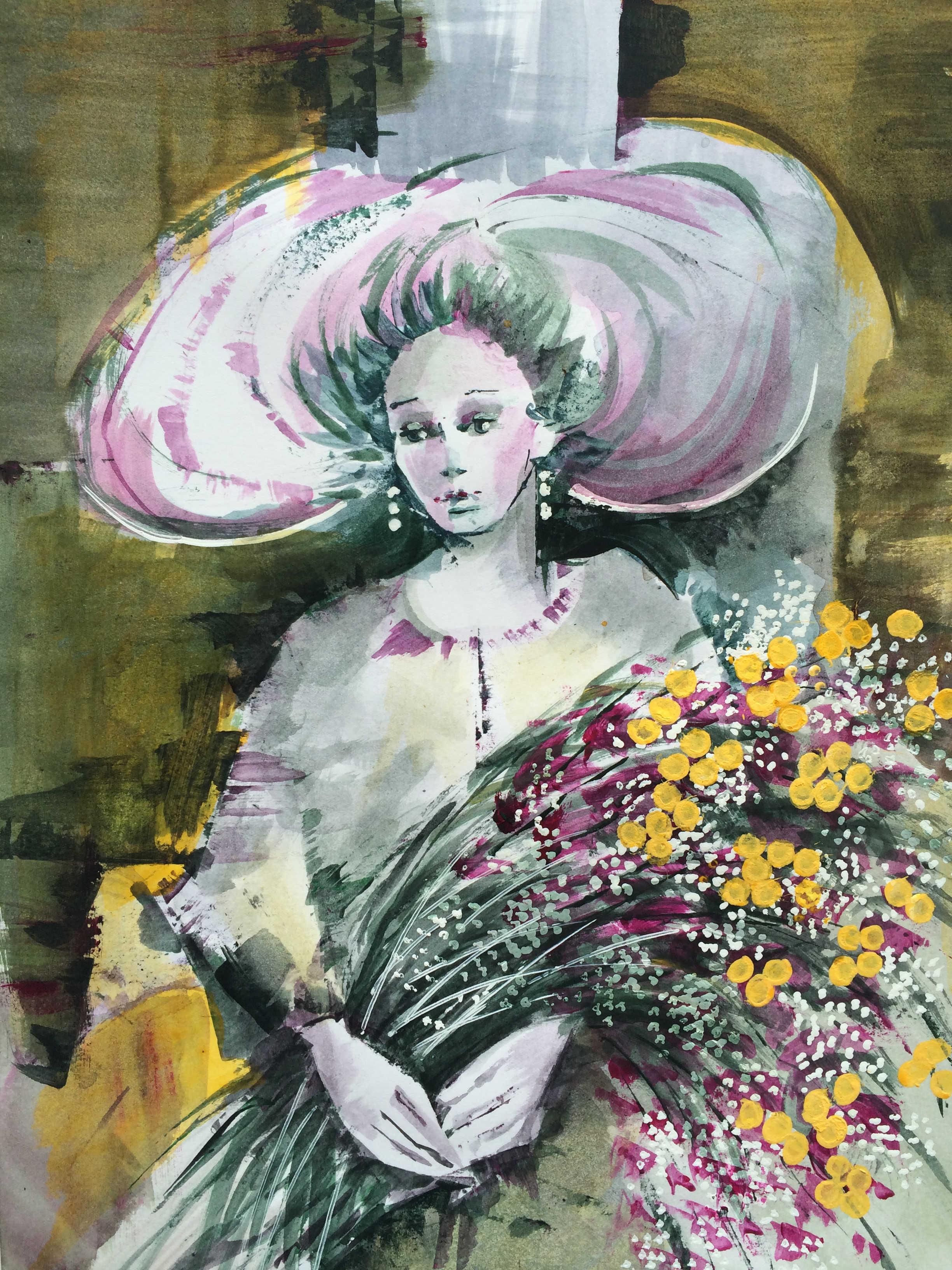 Barbara Callio Donna con fiori