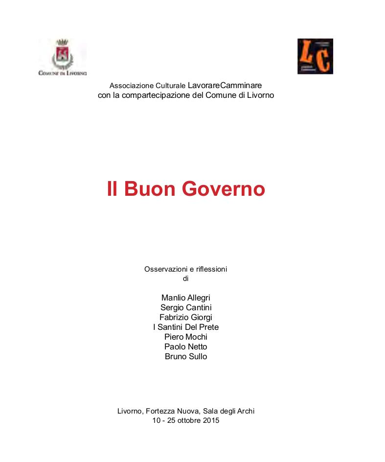 Catalogo Il Buon Governo LavorareCamminare 2015