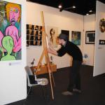 Diego Gabriele dipinge in diretta ad ArtePadova 2015 Il Melograno Art Gallery