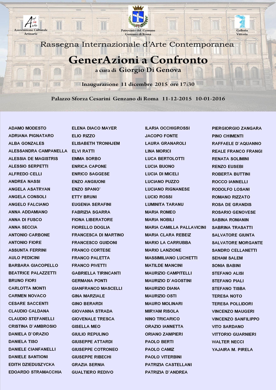 Gli artisti in mostra a Genzano Roma Palazzo Sforza Cesarini