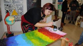 Alice Piazza Live Painting alla galleria Il Melograno